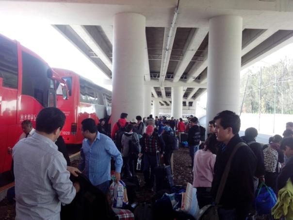 Campuseros bajando de autobuses
